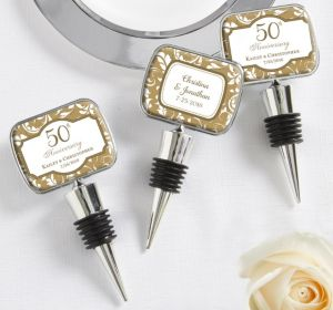 PERSONALIZED Wedding Bottle Stoppers (Printed Epoxy Label) (50th Anniversary)