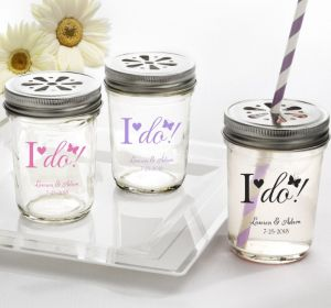 PERSONALIZED Wedding Mason Jars with Daisy Lids (Printed Glass) (White, I Do)