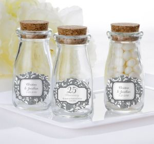 PERSONALIZED Wedding Glass Milk Bottles with Corks (Printed Label) (Silver Elegant Scroll)