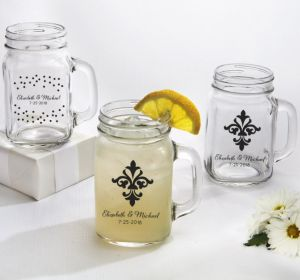 PERSONALIZED Wedding Mason Jar Mugs (Printed Glass) (Black, Damask & Dots)