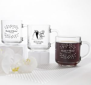 PERSONALIZED Wedding Glass Coffee Mugs (Printed Glass) (White, Black & White Attire)