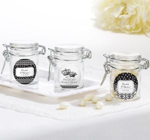 PERSONALIZED Wedding Small Glass Jars (Printed Label) (We're Engaged Crowns)