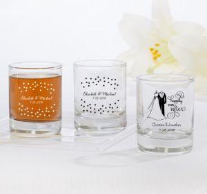 PERSONALIZED Wedding Shot Glasses (Printed Glass) (White, Black & White Attire)