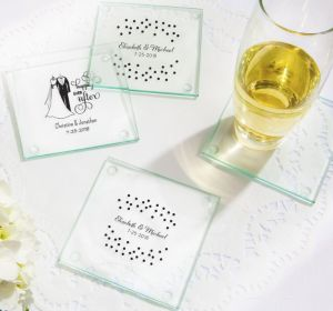 PERSONALIZED Wedding Glass Coasters, Set of 12 (Printed Glass)