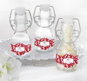 PERSONALIZED Wedding Glass Swing Top Bottles (Printed Label) (40th Anniversary)