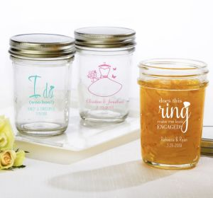 PERSONALIZED Wedding Mason Jars with Solid Lids (Printed Glass) (Black, Ring Engaged)