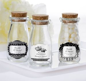 PERSONALIZED Wedding Glass Milk Bottles with Corks (Printed Label) (Damask & Dots Engagement)