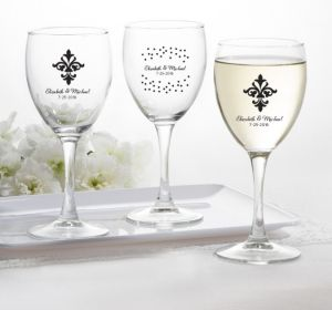 PERSONALIZED Wedding Wine Glasses (Printed Glass) (White, Damask & Dots)