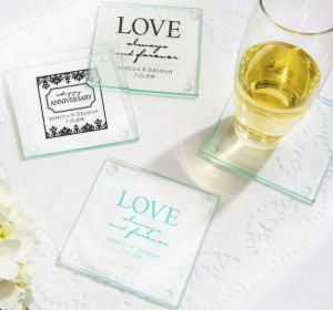 PERSONALIZED Wedding Glass Coasters, Set of 12 (Printed Glass) (Black, Always & Forever Phrase)