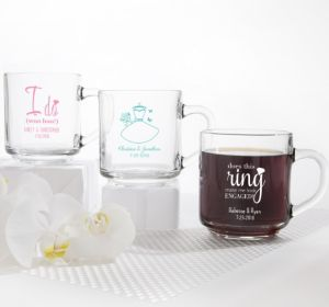 PERSONALIZED Wedding Glass Coffee Mugs (Printed Glass) (Pink, Ring Engaged)