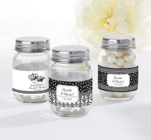 PERSONALIZED Wedding Mini Glass Mason Jars (Printed Label) (Damask & Dots)