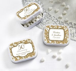 PERSONALIZED Wedding Mint Tins with Candy (Printed Label) (Gold Elegant Scroll)