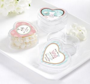 PERSONALIZED Wedding Heart-Shaped Plastic Favor Boxes (Printed Label ) (Ring Engaged)