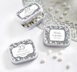 PERSONALIZED Wedding Mint Tins with Candy (Printed Label) (Silver Elegant Scroll)
