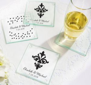 PERSONALIZED Wedding Glass Coasters, Set of 12 (Printed Glass) (White, Damask & Dots Engagement)