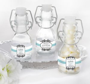 PERSONALIZED Wedding Glass Swing Top Bottles (Printed Label)