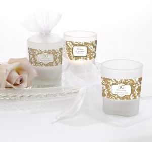 PERSONALIZED Wedding Glass Votive Candle Holders (Printed Label) (Gold Elegant Scroll)