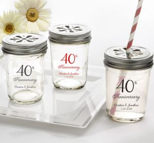 PERSONALIZED Wedding Mason Jars with Daisy Lids (Printed Glass) (Red, 40th Anniversary)