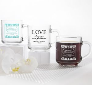 PERSONALIZED Wedding Glass Coffee Mugs (Printed Glass) (White, Always & Forever Damask)