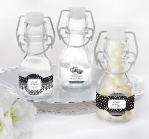 PERSONALIZED Wedding Glass Swing Top Bottles (Printed Label) (We're Engaged Crowns)