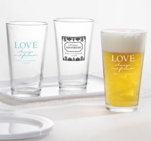PERSONALIZED Wedding Pint Glasses (Printed Glass) (Black, Always & Forever Phrase)