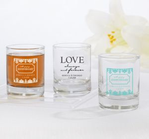 PERSONALIZED Wedding Shot Glasses (Printed Glass) (Black, Always & Forever Phrase)