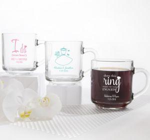 PERSONALIZED Wedding Glass Coffee Mugs (Printed Glass) (White, Blushing Bride Dress)