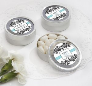 PERSONALIZED Wedding Round Candy Tins - Silver (Printed Label)