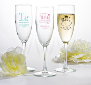 PERSONALIZED Wedding Champagne Flutes (Printed Glass) (Pink, Ring Engaged)