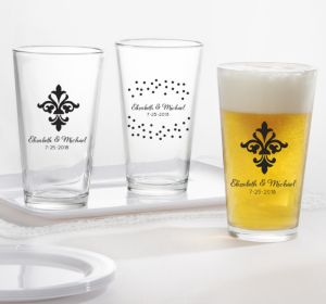 PERSONALIZED Wedding Pint Glasses (Printed Glass) (White, Damask & Dots Engagement)