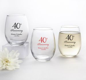 PERSONALIZED Wedding Stemless Wine Glasses 9oz (Printed Glass) (Red, 40th Anniversary)