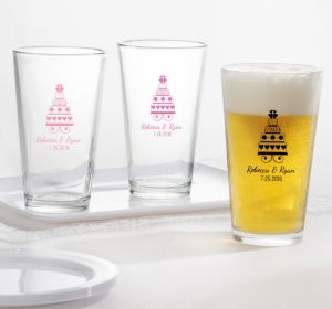 PERSONALIZED Wedding Pint Glasses (Printed Glass) (Pink, Sweet Wedding Cake)