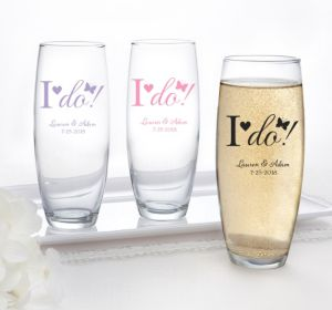 PERSONALIZED Wedding Stemless Champagne Flutes (Printed Glass) (Pink, I Do)