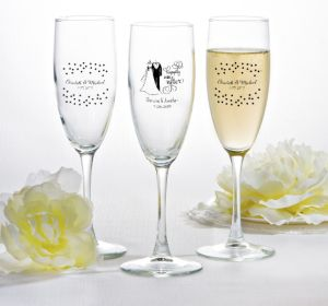 PERSONALIZED Wedding Champagne Flutes (Printed Glass) (Black, Happily Ever After)