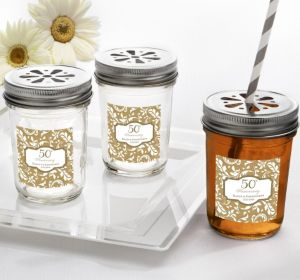 PERSONALIZED Wedding Mason Jars with Daisy Lids (Printed Label) (Gold Elegant Scroll)