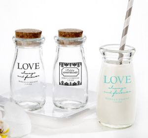 PERSONALIZED Wedding Glass Milk Bottles with Corks (Printed Glass) (Robin's Egg Blue, Always & Forever Damask)