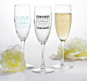 PERSONALIZED Wedding Champagne Flutes (Printed Glass) (White, Always & Forever Phrase)