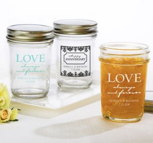 PERSONALIZED Wedding Mason Jars with Solid Lids (Printed Glass) (Black, Always & Forever Anniversary)