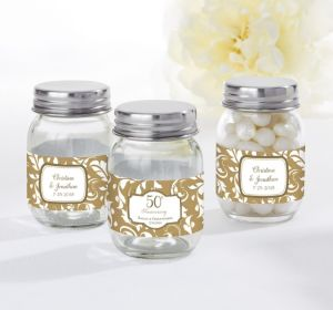 PERSONALIZED Wedding Mini Glass Mason Jars (Printed Label) (Gold Elegant Scroll)