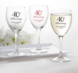 PERSONALIZED Wedding Wine Glasses (Printed Glass) (40th Anniversary Elegant Scroll)