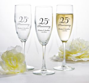 PERSONALIZED Wedding Champagne Flutes (Printed Glass) (25th Anniversary Elegant Scroll)