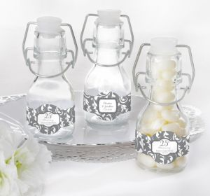PERSONALIZED Wedding Glass Swing Top Bottles (Printed Label) (Silver Elegant Scroll)