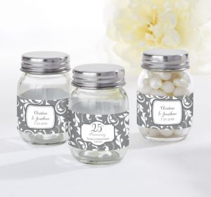 PERSONALIZED Wedding Mini Glass Mason Jars (Printed Label) (Silver Elegant Scroll)