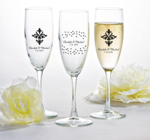 PERSONALIZED Wedding Champagne Flutes (Printed Glass) (White, Damask & Dots Engagement)