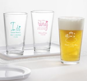 PERSONALIZED Wedding Pint Glasses (Printed Glass) (Robin's Egg Blue, Blushing Bride Dress)