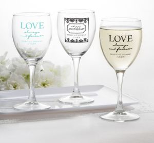 PERSONALIZED Wedding Wine Glasses (Printed Glass) (Black, Always & Forever Anniversary)