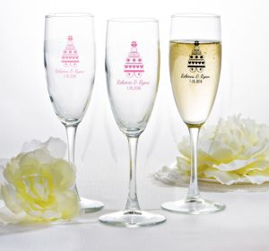 PERSONALIZED Wedding Champagne Flutes (Printed Glass) (Pink, Sweet Wedding Cake)