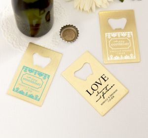 PERSONALIZED Wedding Credit Card Bottle Openers - Gold (Printed Metal) (White, Always & Forever Damask)