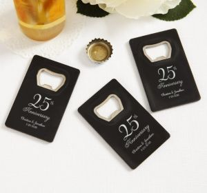 PERSONALIZED Wedding Credit Card Bottle Openers - Black (Printed Plastic) (25th Anniversary Elegant Scroll)