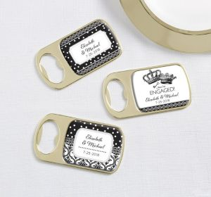 PERSONALIZED Wedding Bottle Openers - Gold (Printed Epoxy Label (Damask & Dots Engagment)